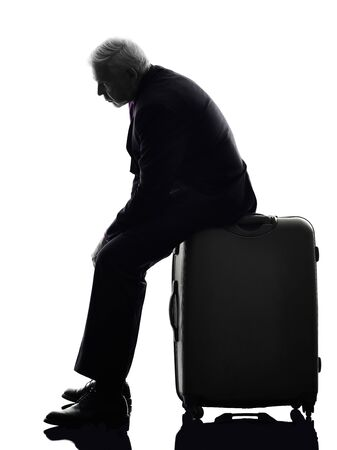 displeased businessman: One Caucasian Senior Business Man Silhouette White Background