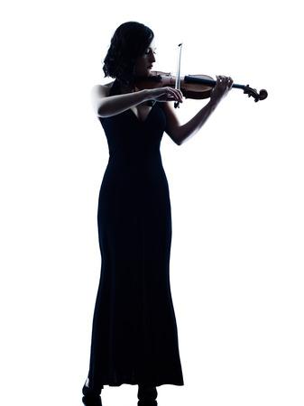 violinista: un cauc�sico Violinista estudio violon mujer del jugador de juego slihouette aislado en fondo blanco