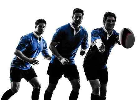 rugby: one caucasian rugby men players  in studio  silhouette isolated on white background