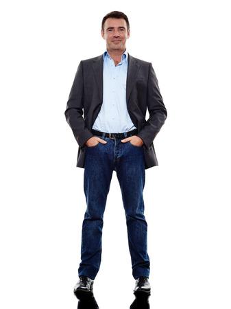 シルエット白い背景の上に立っている一人の白人のビジネス男