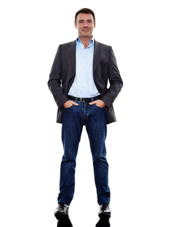 een blanke zakenman stond in silhouet op een witte achtergrond