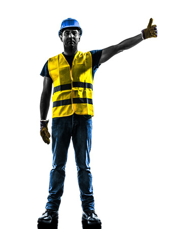 signaling: one construction worker signaling with safety vest raise boom silhouette isolated in white background