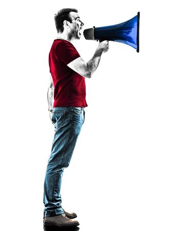 man profile: one man with megaphone silhouette isolated in white background