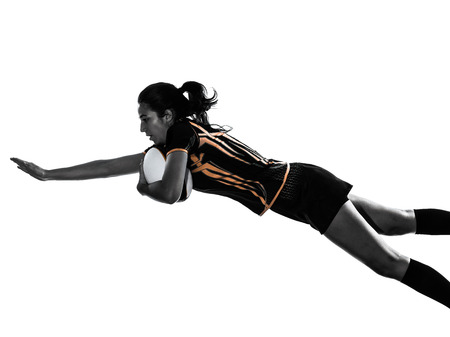 rugby player: one rugby woman player in silhouette isolated on white backround Stock Photo