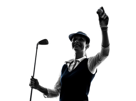 golfer: woman golfer golfing silhouette in white background