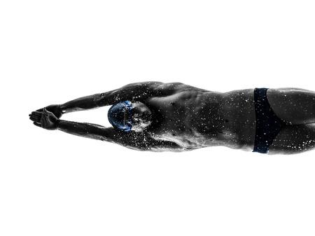 swim: un joven nadador nadando en silueta sobre fondo blanco