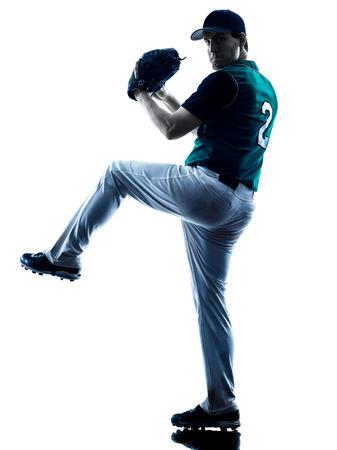 Een blanke man honkballer spelen in de studio silhouet op een witte achtergrond Stockfoto - 39639754