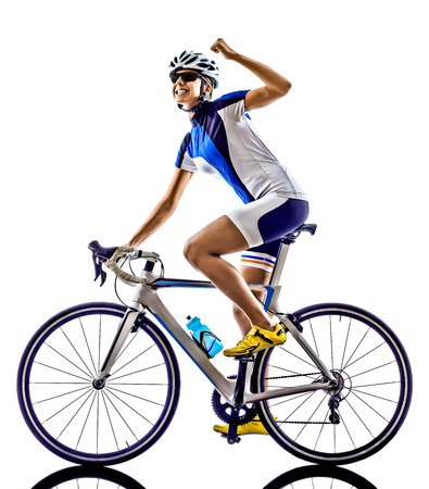 cheer full: woman triathlon ironman athlete  cyclist cycling on white background