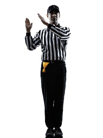 grounding: american football referee gestures intentional grounding in silhouette on white background