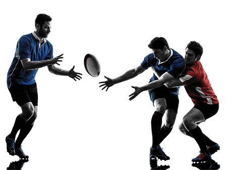 one caucasian rugby men players  in studio  silhouette isolated on white background photo
