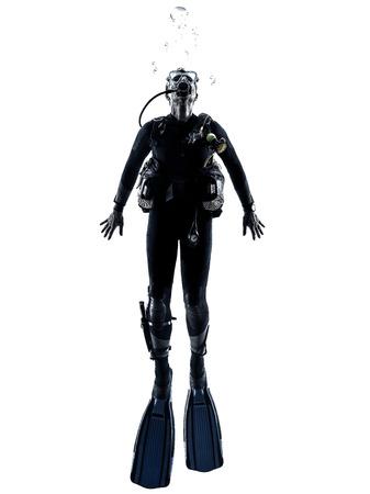 ein kaukasisch Taucher Tauchen Mann im Studio Silhouette auf weißem Hintergrund isoliert Lizenzfreie Bilder