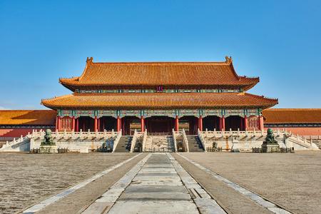 最高のハーモニーの皇居北京紫禁城の Taihemen ゲート 報道画像
