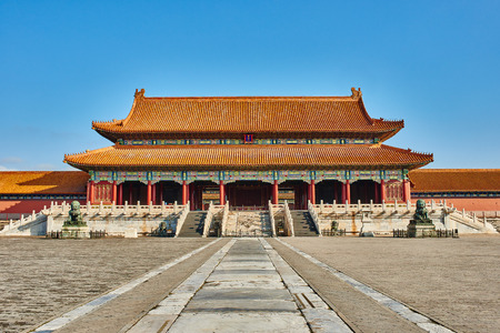 Taihemen gate of supreme harmony imperial palace Forbidden City of Beijing China Redactioneel