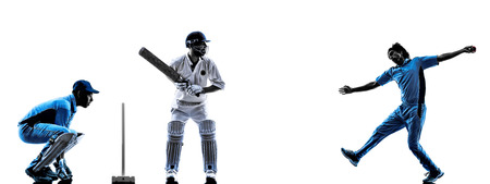 白い背景にシルエット影のクリケット選手