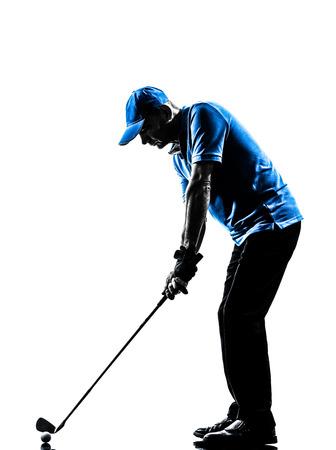 白い背景に分離されたシルエット スタジオで一人の男ゴルファーのゴルフ ゴルフのスイング