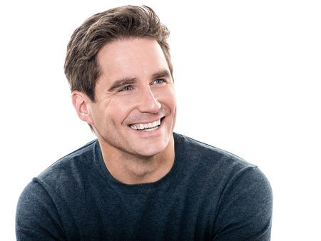man face: één man volwassen knappe man brede glimlach portret studio witte achtergrond