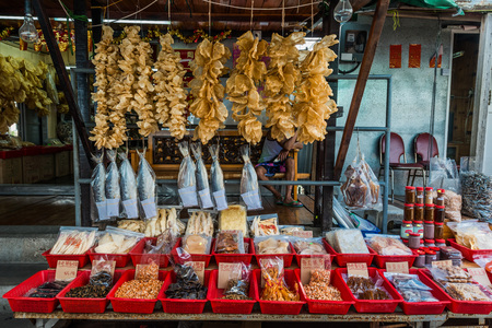 lantau: seafood market Tai O Lantau island in Hong Kong