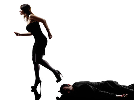 agression: one detective woman criminal investigations investigating crime in silhouette on white background