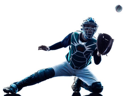 one caucasian man baseball player playing  in studio  silhouette isolated on white background 版權商用圖片