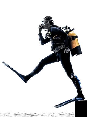 Een blanke scuba duiker man in de studio silhouet geïsoleerd op een witte achtergrond Stockfoto - 40318089