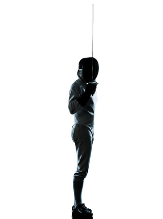 fencers: one man fencing saluting silhouette in studio isolated on white background