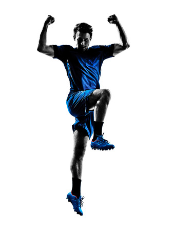 cheer full: one italian soccer player man playing football jumping in silhouette white background