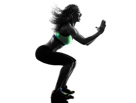 danseuse: Un Africain exercices de danse danseur femme en silhouette studio isol� sur fond blanc