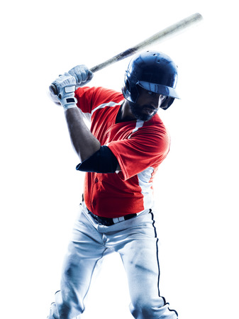 one caucasian man baseball player playing  in studio  silhouette isolated on white background photo