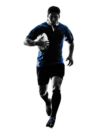 one caucasian rugby man player  in studio  silhouette isolated on white background