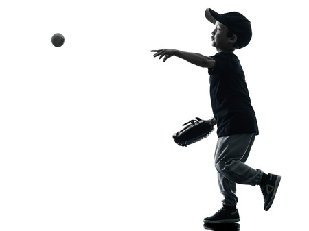 child playing softball players in silhouette isolated on white background photo