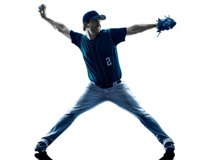 baseball pitcher: one caucasian man baseball player playing  in studio  silhouette isolated on white background Stock Photo