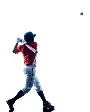 baseball: one caucasian man baseball player playing  in studio  silhouette isolated on white background Stock Photo