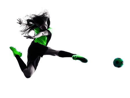one woman playing soccer player in silhouette isolated on white background Standard-Bild