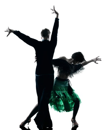 modern dance: one caucasian elegant couple dancers dancing in studio silhouette isolated on white background
