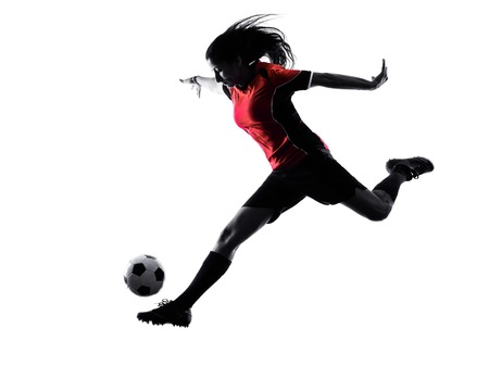 one woman playing soccer player in silhouette isolated on white background Reklamní fotografie