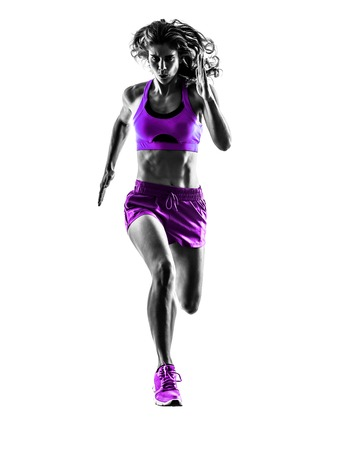 athletic: one caucasian woman runner running jogger jogging  in studio silhouette isolated on white background Stock Photo