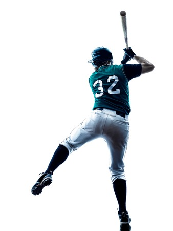 one caucasian man baseball player playing  in studio  silhouette isolated on white background 스톡 콘텐츠