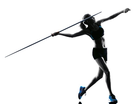 athletics: one  caucasian woman Javelin thrower in silhouette isolated white background Stock Photo