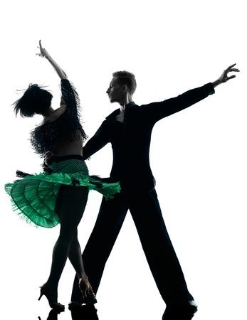 danseuse: un caucasien couple �l�gant danseurs dansent en silhouette studio isol� sur fond blanc Banque d'images