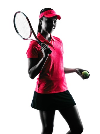 sport silhouette: one woman tennis player sadness in studio silhouette isolated on white background
