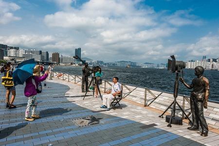 china people: Kowloon, Hong Kong ,China - June 9, 2014: people tourist Avenue of Stars Tsim Sha Tsui