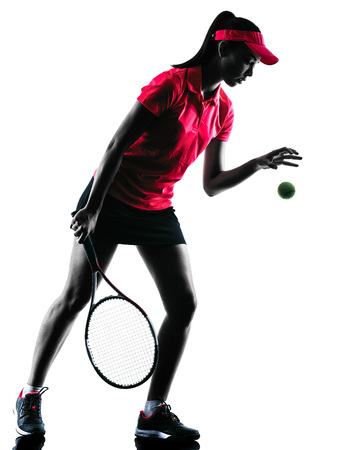 tennis player: one woman tennis player sadness in studio silhouette isolated on white background