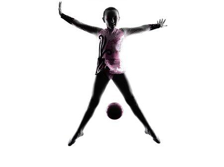 gimnasia ritmica: un caucásico niña niño ejercicio de gimnasia rítmica en la silueta aislado en el fondo blanco Foto de archivo
