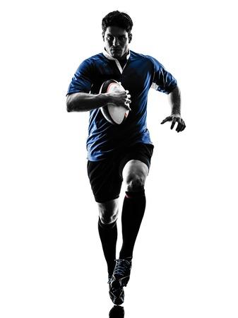 ein kaukasisch Mann Rugbyspieler im Studio Silhouette auf weißem Hintergrund isoliert Standard-Bild