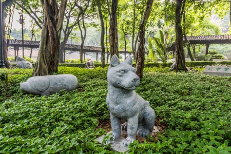 walled: Chinese Zodiac garden statues Kowloon Walled City Park in Hong Kong