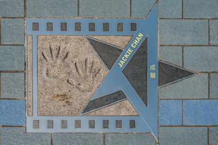 chan: Jackie Chan star at Avenue of Stars  Kowloon in Hong Kong Editorial