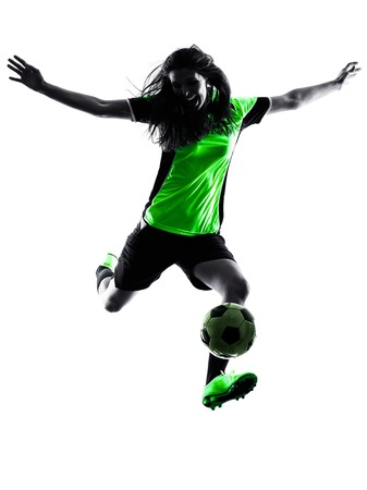 silhouette: one woman playing soccer player in silhouette isolated on white background Stock Photo