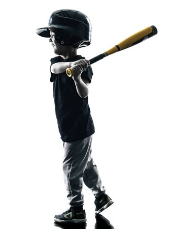 softball: child playing softball player in silhouette isolated on white background