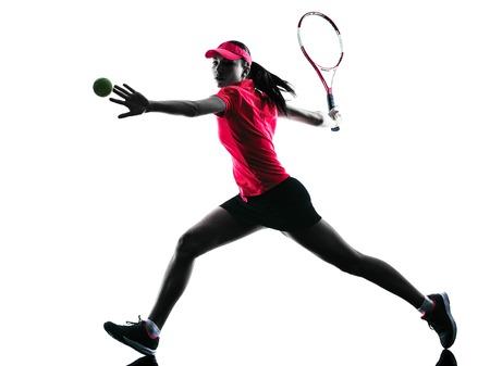 白い背景に分離されたスタジオ シルエットで一人の女性テニス プレーヤーの悲しみ 写真素材 - 43079634