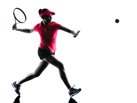 silhouette: one woman tennis player sadness in studio silhouette isolated on white background